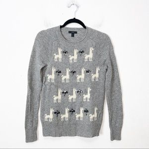 J Crew Gray Llama Jewel Crewneck Wool Sweater